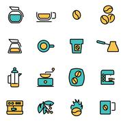 Trendy flat line icon pack for designers and developers. Vector line coffee i Stock Illustration