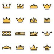 Trendy flat line icon pack for designers and developers. Vector line crown ic Stock Illustration