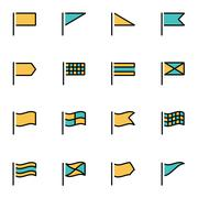 Trendy flat line icon pack for designers and developers. Vector line flags ic - stock illustration