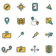 Trendy flat line icon pack for designers and developers. Vector line navigati Stock Illustration