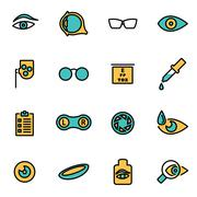 Trendy flat line icon pack for designers and developers. Vector line optometr Stock Illustration