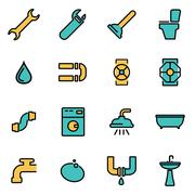 Trendy flat line icon pack for designers and developers. Vector line plumbing Stock Illustration