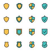 Trendy flat line icon pack for designers and developers. Vector line shield i - stock illustration