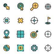 Trendy flat line icon pack for designers and developers. Vector line target i Stock Illustration