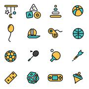 Trendy flat line icon pack for designers and developers. Vector line toys ico Stock Illustration