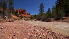 Mossy Cave Trail Creek with Fortress Rock in the Background - stock footage