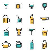 Trendy flat line icon pack for designers and developers. Vector line beverage Stock Illustration