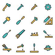 Trendy flat line icon pack for designers and developers. Vector line carpentr Stock Illustration