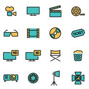 Trendy flat line icon pack for designers and developers. Vector line cinema i Stock Illustration