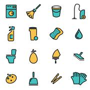 Trendy flat line icon pack for designers and developers. Vector line cleaning Stock Illustration