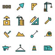 Trendy flat line icon pack for designers and developers. Vector line construc Stock Illustration