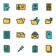 Trendy flat line icon pack for designers and developers. Vector line document Stock Illustration
