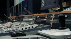 Control panel on table with microphone  and screen Stock Footage