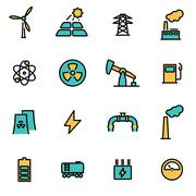 Trendy flat line icon pack for designers and developers. Vector line energeti Stock Illustration