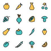 Trendy flat line icon pack for designers and developers. Vector line fruit an Stock Illustration