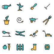 Trendy flat line icon pack for designers and developers. Vector line gardenin - stock illustration