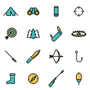 Trendy flat line icon pack for designers and developers. Vector line hunting  Stock Illustration