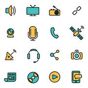 Trendy flat line icon pack for designers and developers. Vector line media se - stock illustration