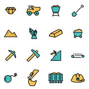 Trendy flat line icon pack for designers and developers. Vector line mining s Stock Illustration