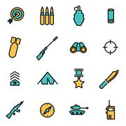 Trendy flat line icon pack for designers and developers. Vector line military Stock Illustration