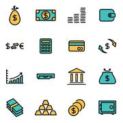 Trendy flat line icon pack for designers and developers. Vector line money se - stock illustration