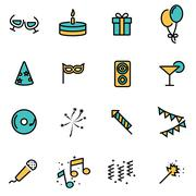 Trendy flat line icon pack for designers and developers. Vector line party se Stock Illustration