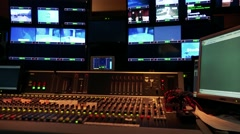 Television studio with many screen and control panel Stock Footage