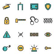 Trendy flat line icon pack for designers and developers. Vector line security - stock illustration
