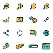Trendy flat line icon pack for designers and developers. Vector line seo set Stock Illustration