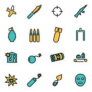 Trendy flat line icon pack for designers and developers. Vector line terroris Stock Illustration