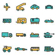 Trendy flat line icon pack for designers and developers. Vector line vehicles Stock Illustration