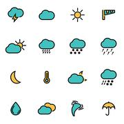Trendy flat line icon pack for designers and developers. Vector line weather  Stock Illustration