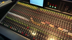 View on mixing console in studio Stock Footage