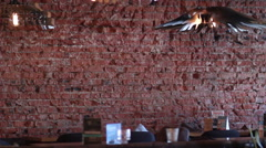 View of loft-style restaurant Stock Footage