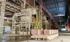 Aluminium and steel molds and cats on a platform in a smelter, foundry factor Stock Photos