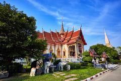 Wat Chalong temple at sunny evening Phuket Thailand Stock Photos