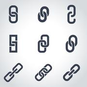 Vector black chain or link icon set Stock Illustration