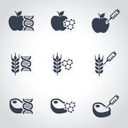 Vector black genetically modyfied food icon set Stock Illustration