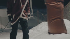 Ski lift at the ski slope Stock Footage