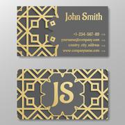 Business card template, gold arabic pattern Stock Illustration