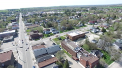 Aerial of new liskeard ontario canada's downtown core Stock Footage