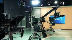 Camera and the other apparatuses in television studio - stock footage