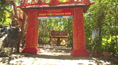 Large Red Traditional Buddhist Temple Gates Row in Vietnam Stock Footage