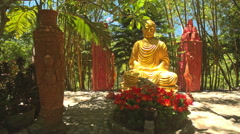 Golden Buddha Holy Statue in Park of Phap-Vien-Thanh-Son Stock Footage