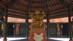 Closeup Buddha Statue in Buddhist Temple Main Hall Stock Footage