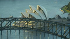Aerial view of Sydney Harbor Bridge climb and Opera House Australia Stock Footage