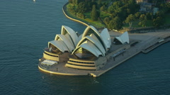 Aerial view of Sydney Opera House Australia at sunrise Stock Footage