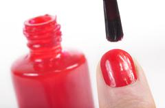 Lacquer nail painting - stock photo