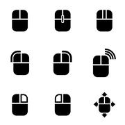 Vector black computer mouse icon set - stock illustration