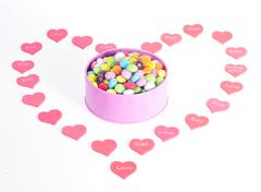 Gift for Valentine Day sweets and hearts Stock Photos